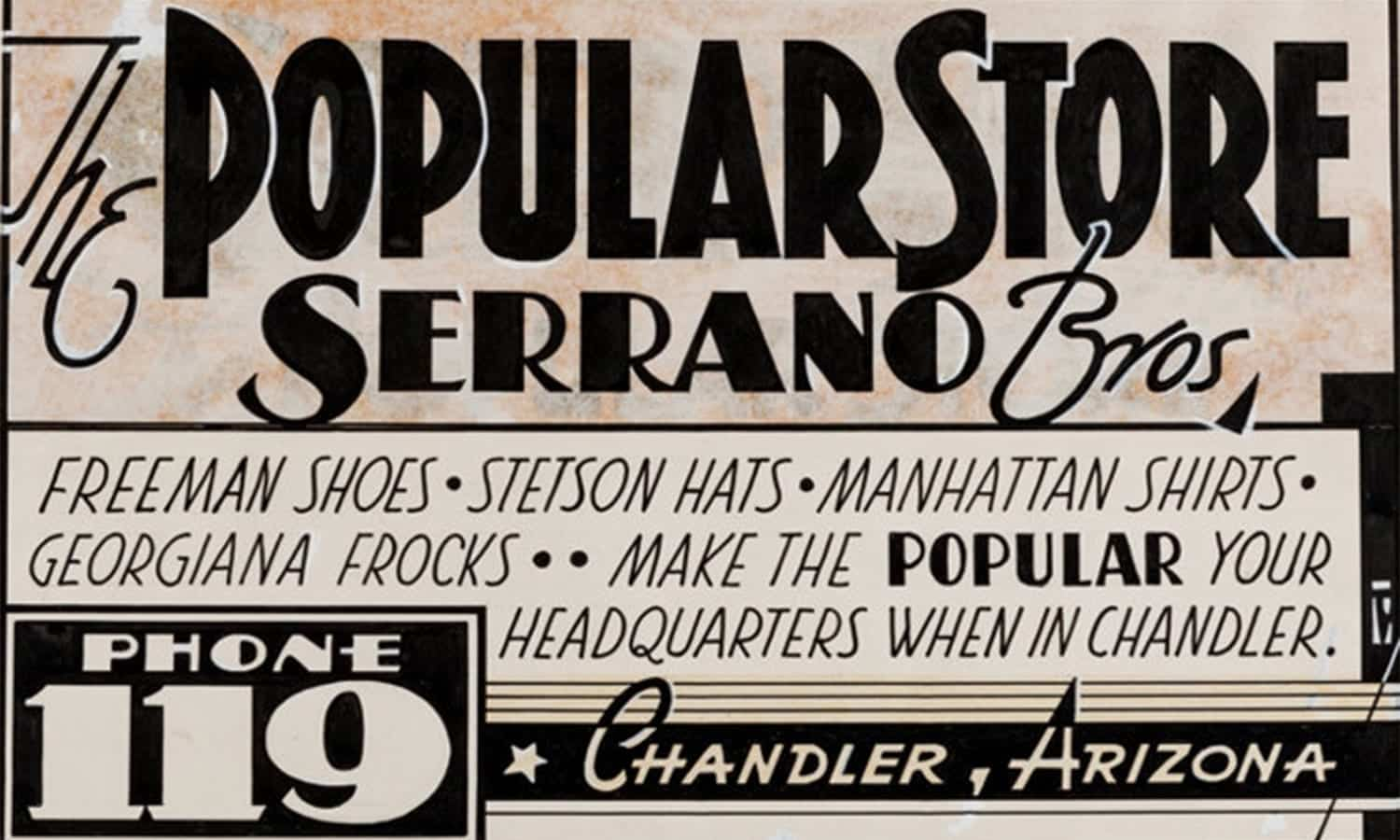 Serrano Brothers Popular Store vintage newspaper ad