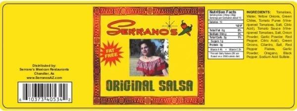Serrano's Original Salsa label | nutrition information